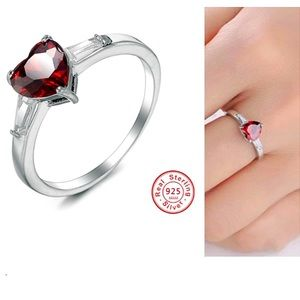 ❤️S925 Silver Red Heart CZ Crystal Ring